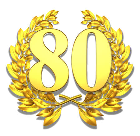 Number eighty Golden laurel wreath with the number eighty inside  Stock Photo