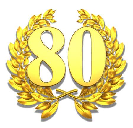 achtzig: Nummer 80 goldenen Lorbeerkranz mit der Zahl 80 im Inneren