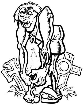 Zombie Illustration of a zombie in black and white illustration