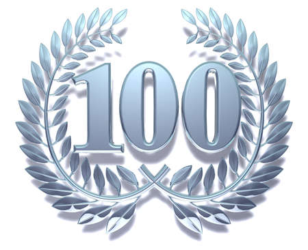 Congratulation hundred Silver laurel wreath with the number hundred inside  Stock Photo - 11703416