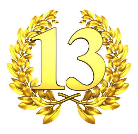 13: Number thirteen Golden laurel wreath with the number thirteen inside
