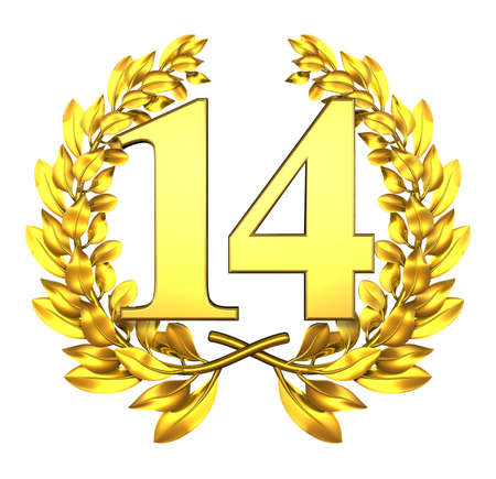 number 14: Number fourteen Golden laurel wreath with the number fourteen inside