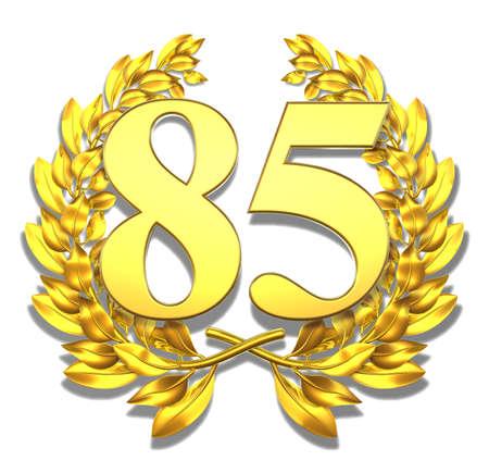 Number eighty-five Golden laurel wreath with the number eighty-five inside