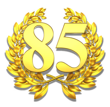 Number eighty-five Golden laurel wreath with the number eighty-five inside  Standard-Bild