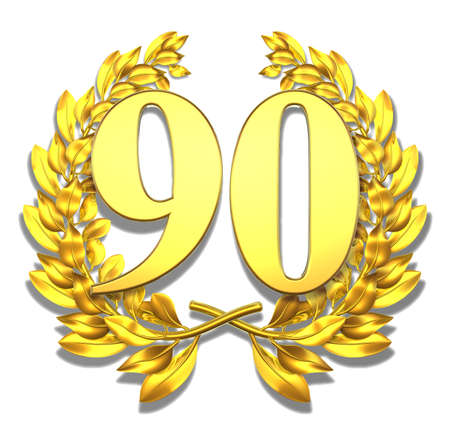 90: Number ninety Golden laurel wreath with the number ninety inside  Stock Photo