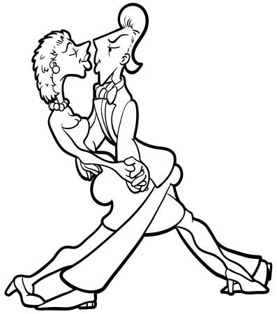 Dancing couple Funny illustration of a dancing couple in black and white Vector
