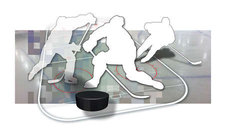 Ice hockey players Silhouette of three ice hockey players in black and white, a puck and parts of an ice hockey rink