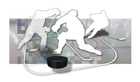 Joueurs de hockey sur glace Silhouette de trois joueurs de hockey sur glace en noir et blanc, une rondelle et les pi�ces d'une patinoire de hockey sur glace