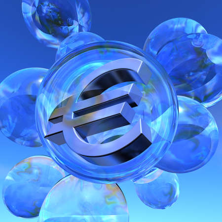 Euro bubble Illustration of the Euro sign in silver in a soap bubble surrounded by several empty soap bubbles illustration
