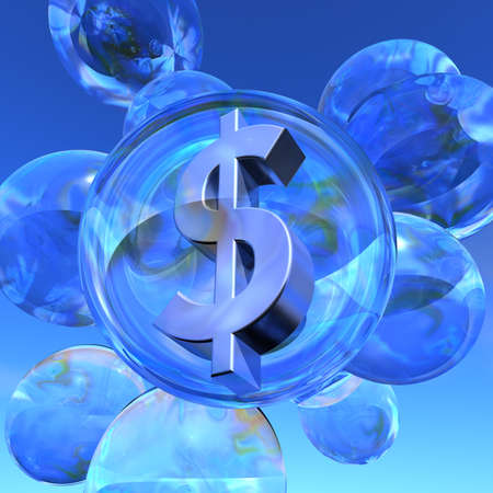 Dollar bubble Illustration of the Dollar sign in silver in a soap bubble surrounded by several empty soap bubbles illustration