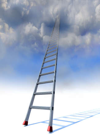 rung: Ladder to heaven A ladder with red anti-slip shoes leaning into the clouds