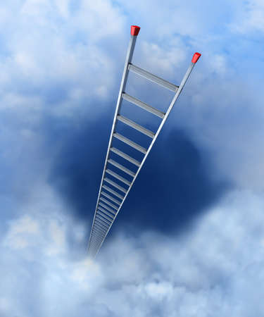 climbing ladder: Ladder to heaven A ladder with red anti-slip shoes leaning into the clouds
