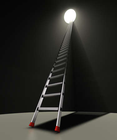 red shoes: Ladder and hole A ladder with red anti-slip shoes leaning against a black wall with a hole
