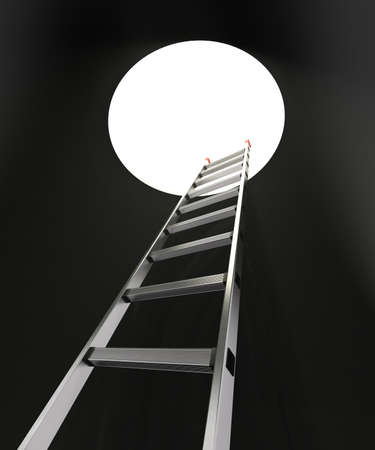 rung: Ladder and hole A ladder with red anti-slip shoes leaning against a black wall with a hole