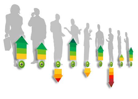 Silhouettes de notation du personnel d'un groupe de gens d'affaires avec des fl�ches de diff�rentes couleurs d�montrant le crit�re de notation
