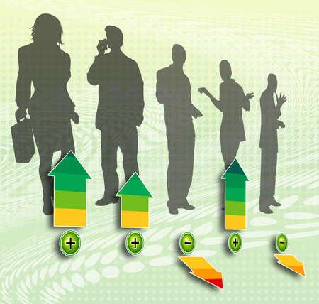 criterio: Sagome del personale rating di un gruppo di uomini d'affari con le frecce in diversi colori dimostrare il criterio voto Archivio Fotografico