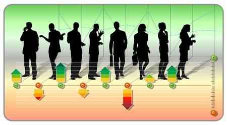 Silhouettes de notation du personnel d'un groupe de gens d'affaires avec des flèches de différentes couleurs démontrant le critère de notation