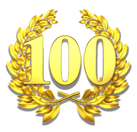 jubilation: Number hundred Golden laurel wreath with the number hundred inside  Stock Photo