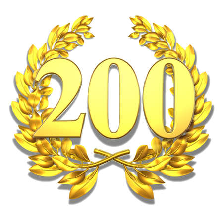 golden laurel wreath: Number two hundred Golden laurel wreath with the number two hundred inside  Stock Photo