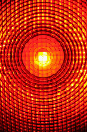 plexiglas: Warning light  Close-up of a burning warning light  Stock Photo