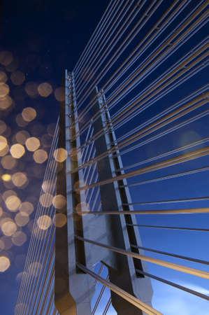 Bridge suspension Part of a modern suspension bridge at night Stock Photo - 12206545