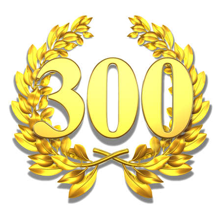 jubilation: Number three hundred Golden laurel wreath with the number three hundred inside