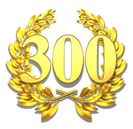 golden laurel wreath: Number three hundred Golden laurel wreath with the number three hundred inside