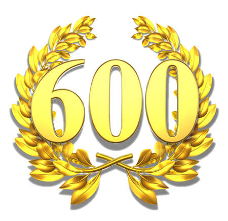 jubilee: Number six hundred Golden laurel wreath with the number six hundred inside