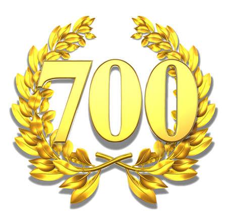 number seven: Number seven hundred Golden laurel wreath with the number seven hundred inside