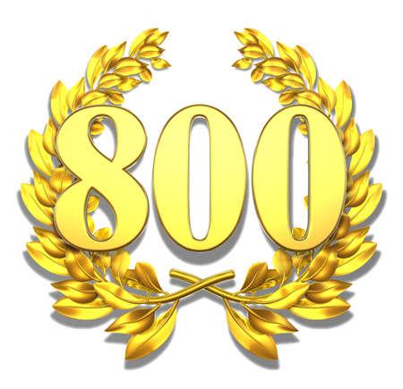 8 years: Number eight hundred Golden laurel wreath with the number eight hundred inside  Stock Photo