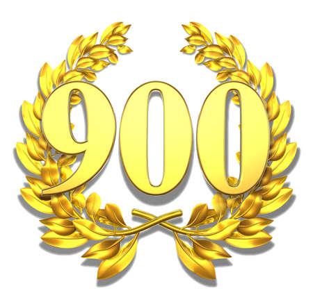 numero nueve: Número 900 de oro corona de laurel con el número 900 en el interior Foto de archivo