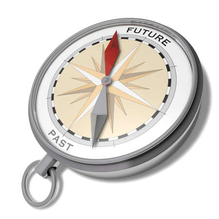 past: Future or past Fantasy illustration of a compass with a red arrow pointing to future and a grey arrow pointing to past