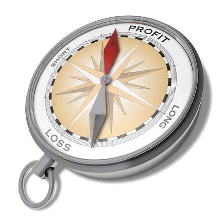 perdidas y ganancias: Beneficio o pérdida de la ilustración Fantasía de una brújula con una flecha roja que apunta a las ganancias y una flecha gris que apunta a la pérdida de Foto de archivo