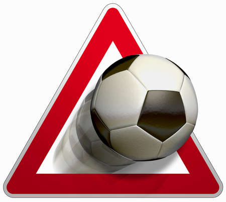 precedence: Attention soccer The road sign for yield and a soccer ball in black and white