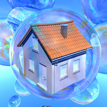 bursting: Bursting dreams Illustration of a dwelling house in a soap bubble surrounded by several empty soap bubbles