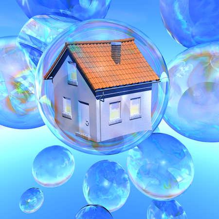 �quit�: Illustration �clatement r�ves d'une maison d'habitation dans une bulle de savon entour� par plusieurs bulles de savon vides