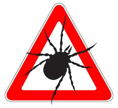 borreliosis: Tick warning Illustration of a tick warning sign