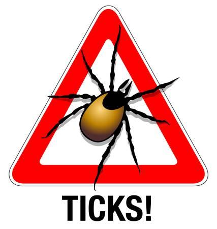 garrapata: Marque Ilustración de advertencia de una señal de advertencia de la garrapata Vectores