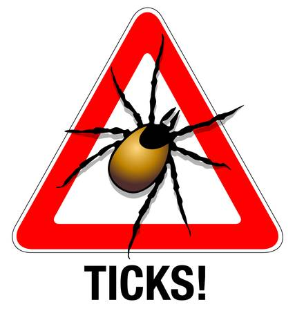 ticks: Tick warning Illustration of a tick warning sign