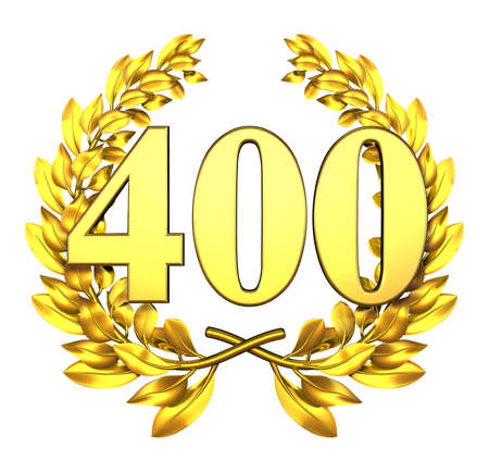 jubilation: Number four hundred Golden laurel wreath with the number four hundred inside  Stock Photo