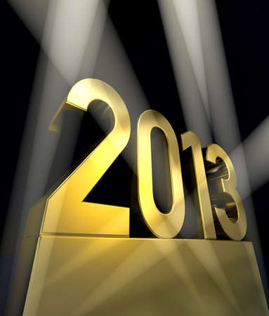 Year 2013 Number 2013 on a golden pedestal at a black background             Stok Fotoğraf