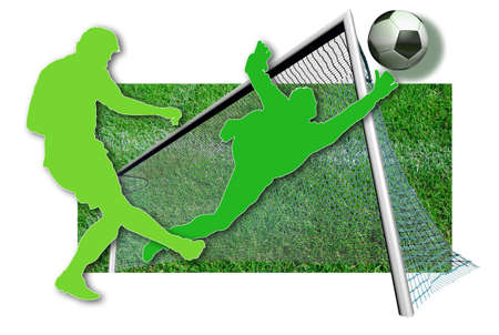 Soccer players Silhouette of two soccer players in green, a ball in black and white and parts of a football pitch photo