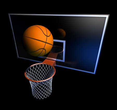 basketball hoop: Basketball hoop and ball Illustration of a basketball hoop and a basketball ball at a black background