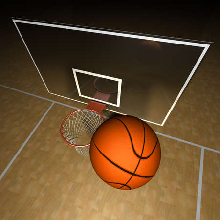 basketball shot: Basketball ball and court Illustration of a basketball ball and a part of the basketball court Stock Photo