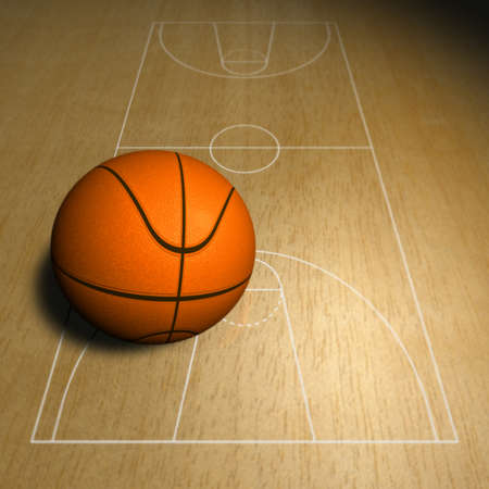 Basketball ball and court Illustration of a basketball ball and a part of the basketball court Stock Illustration - 13784332