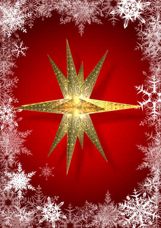 holy family: Star and Snowflakes A golden poinsettia surrounded by many snow crystals on a red background