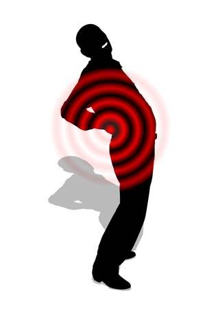 El dolor de espalda Silueta de un hombre vestido de negro con dolor de espalda representados por círculos rojos