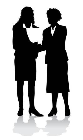black and white image: Businesswomen Silhouette in black of two businesswomen talking