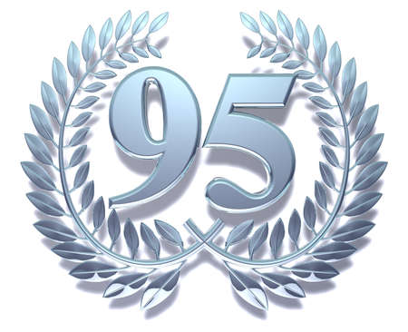 ninety: Number ninety-five Silver laurel wreath with the number ninety-five inside Stock Photo