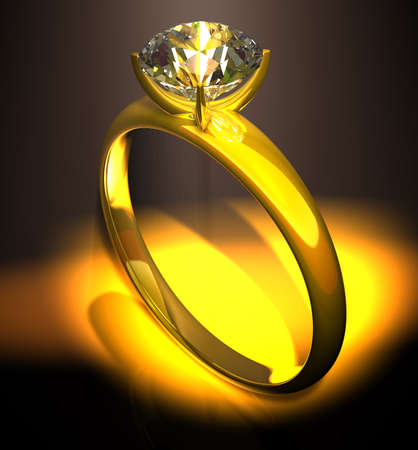 Diamond ring Golden ring with a diamond at a black background photo